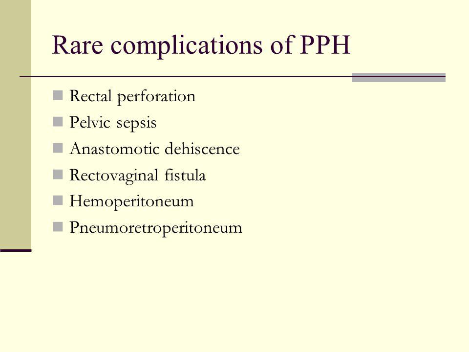 Rare complications of PPH Rectal perforation Pelvic sepsis Anastomotic dehiscence Rectovaginal fistula Hemoperitoneum Pneumoretroperitoneum