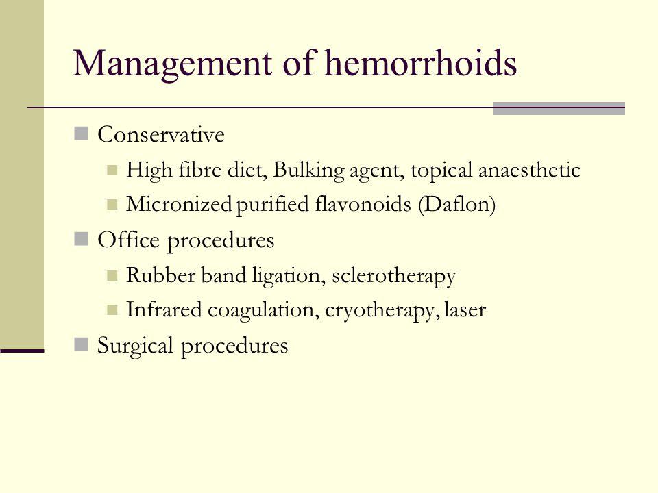 Management of hemorrhoids Conservative High fibre diet, Bulking agent, topical anaesthetic Micronized purified flavonoids (Daflon) Office procedures R