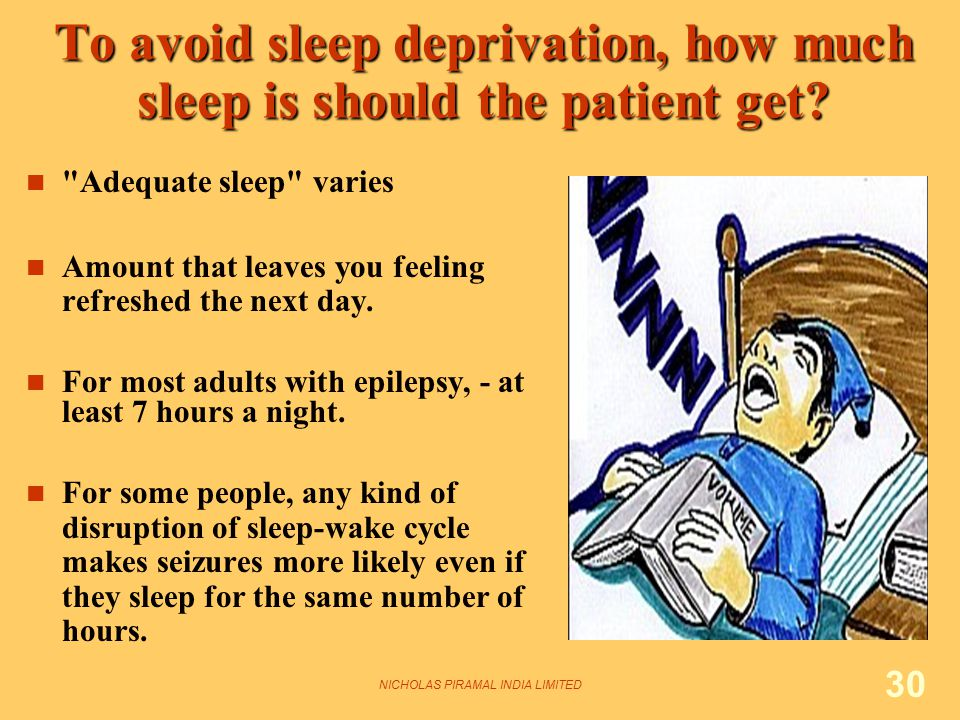 NICHOLAS PIRAMAL INDIA LIMITED 30 To avoid sleep deprivation, how much sleep is should the patient get.