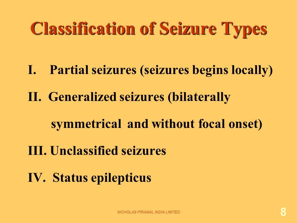 NICHOLAS PIRAMAL INDIA LIMITED 8 Classification of Seizure Types I. Partial seizures (seizures begins locally) II. Generalized seizures (bilaterally s