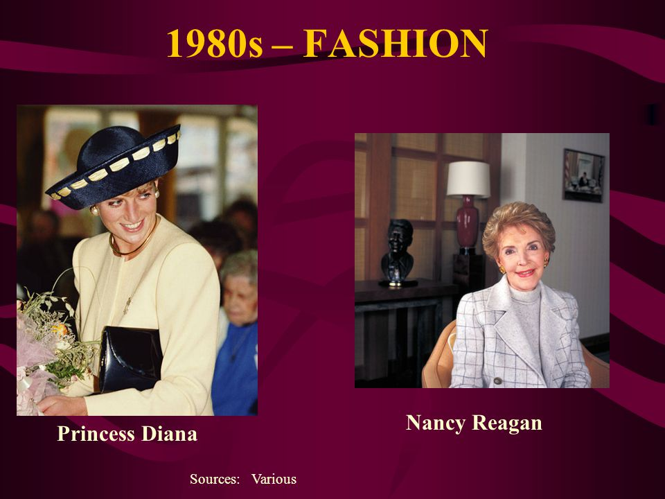 1980s – FASHION Sources: Various Princess Diana Nancy Reagan
