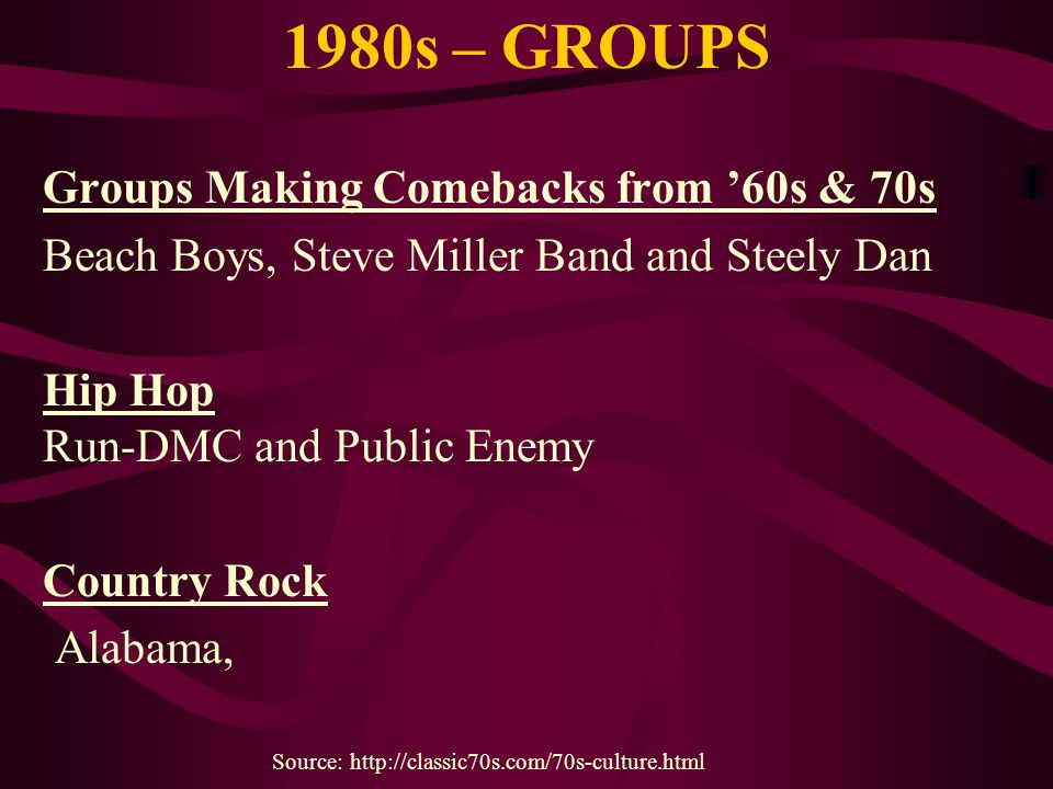 1980s – GROUPS Groups Making Comebacks from '60s & 70s Beach Boys, Steve Miller Band and Steely Dan Hip Hop Run-DMC and Public Enemy Country Rock Alab