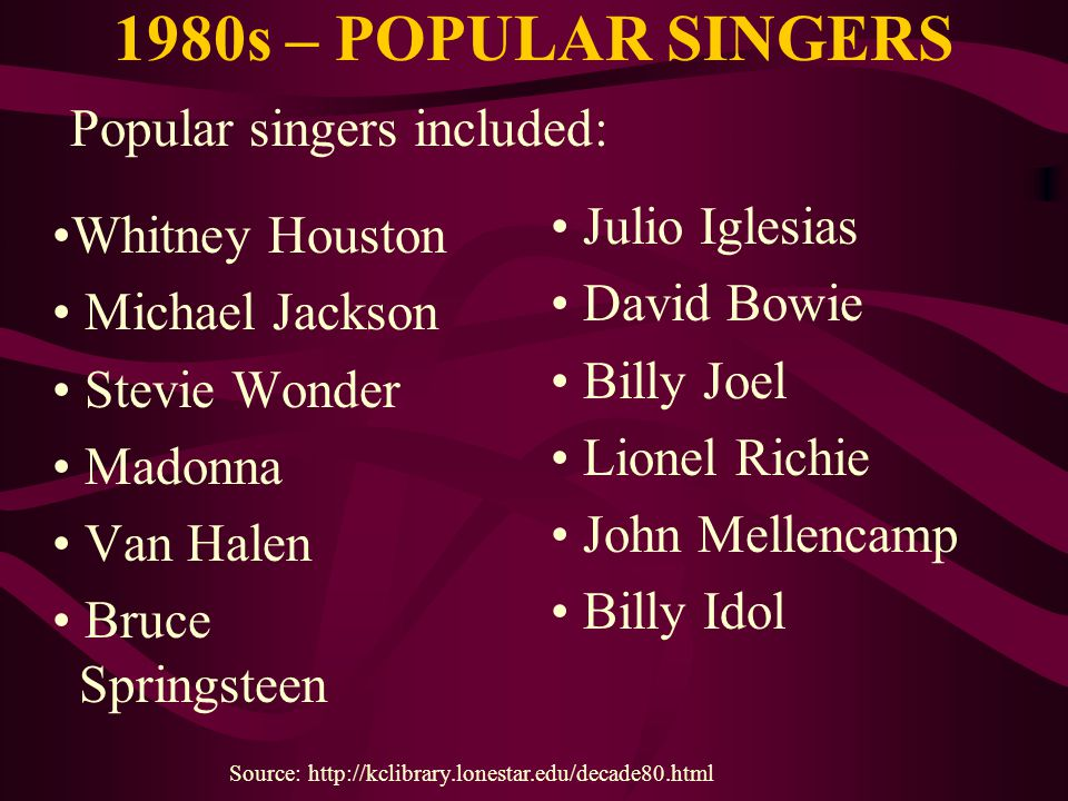 1980s – POPULAR SINGERS Whitney Houston Michael Jackson Stevie Wonder Madonna Van Halen Bruce Springsteen Source: http://kclibrary.lonestar.edu/decade