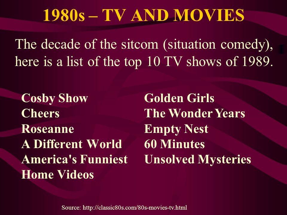 1980s – TV AND MOVIES Cosby Show Cheers Roseanne A Different World America's Funniest Home Videos Source: http://classic80s.com/80s-movies-tv.html Gol