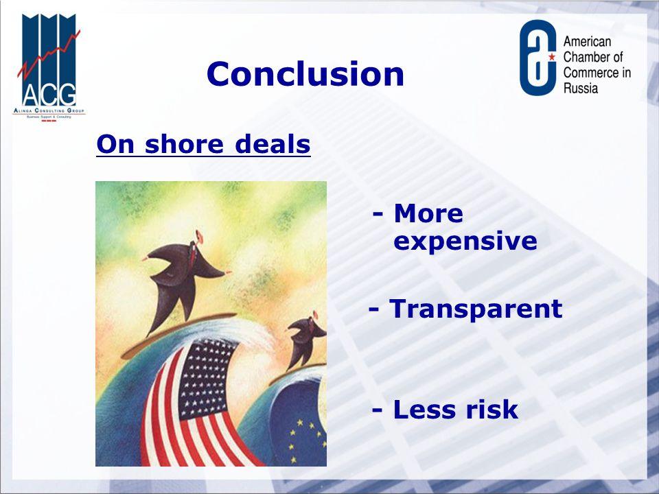 Conclusion On shore deals - More expensive - Transparent - Less risk