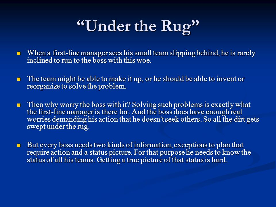 """Under the Rug"" When a first-line manager sees his small team slipping behind, he is rarely inclined to run to the boss with this woe. When a first-li"