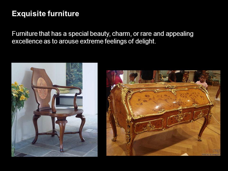 Exquisite furniture Furniture that has a special beauty, charm, or rare and appealing excellence as to arouse extreme feelings of delight.