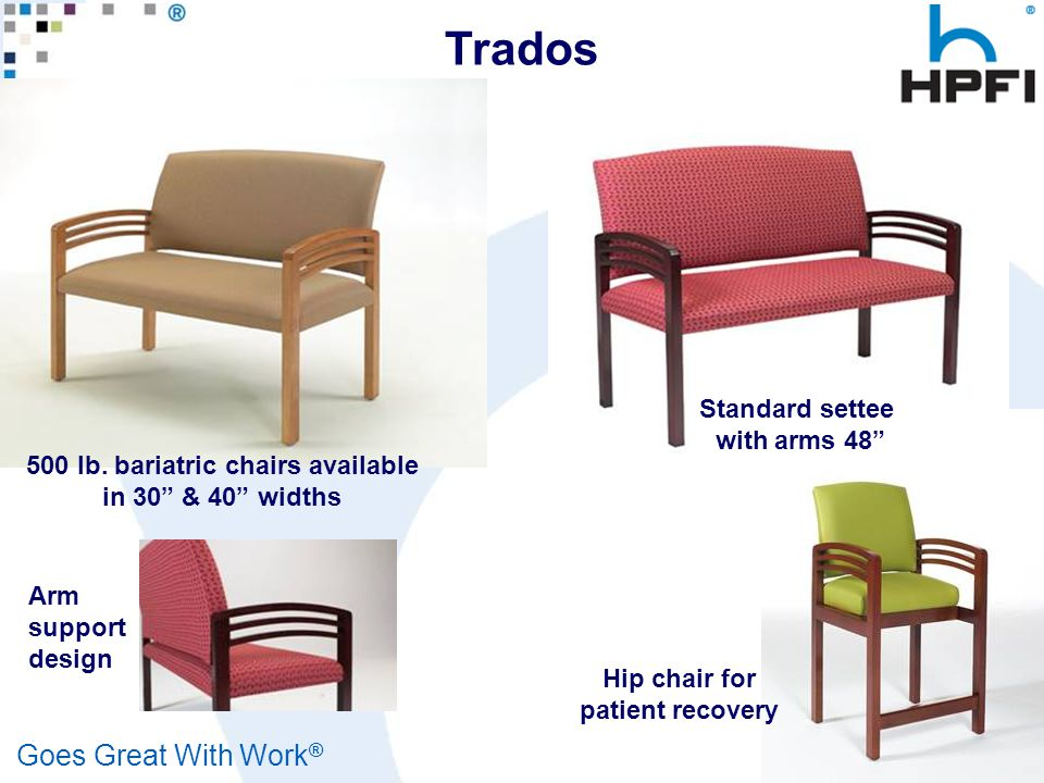 "Goes Great With Work ® Healthcare 500 lb. bariatric chairs available in 30"" & 40"" widths Standard settee with arms 48"" Hip chair for patient recovery"