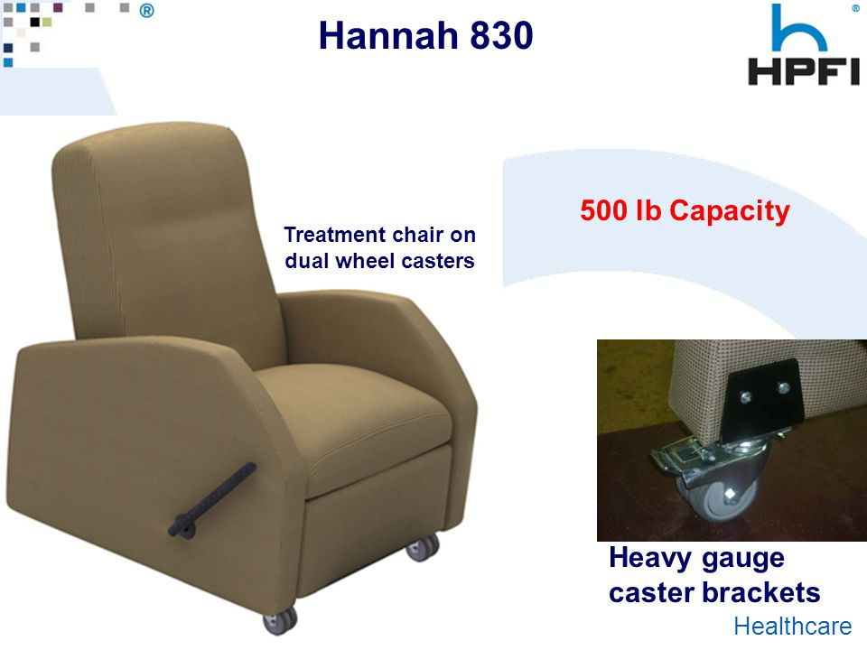 Goes Great With Work ® Healthcare Hannah 830 500 lb Capacity Heavy gauge caster brackets Treatment chair on dual wheel casters