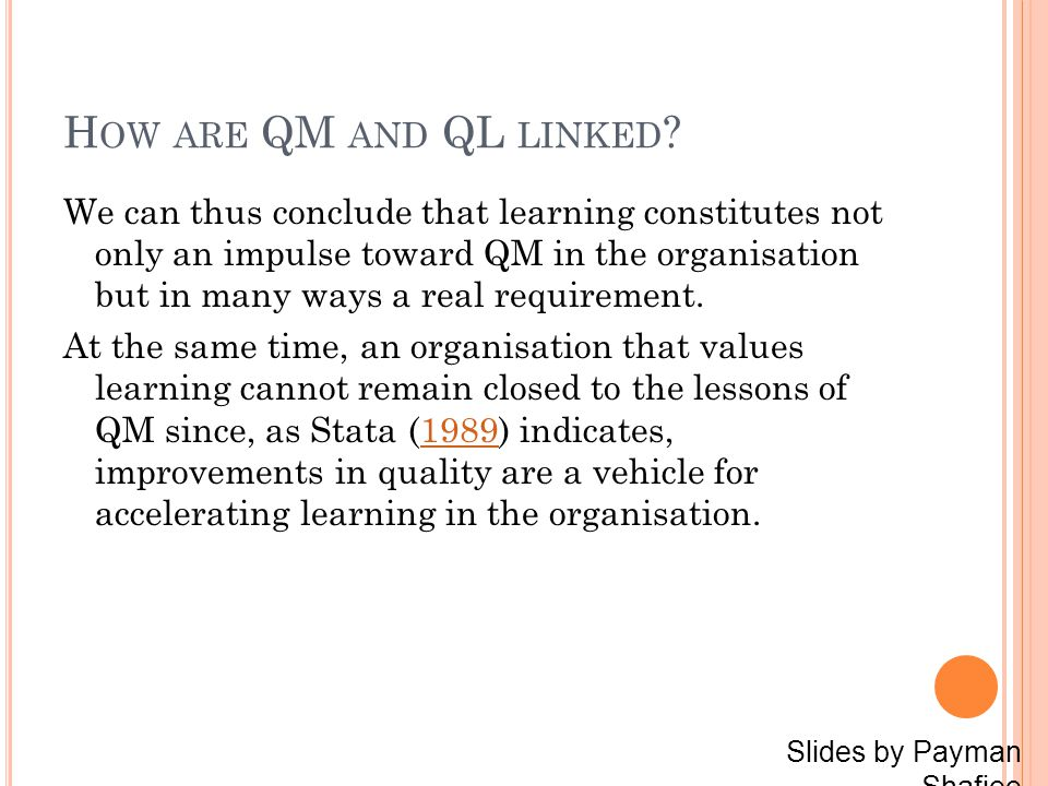 H OW ARE QM AND QL LINKED .