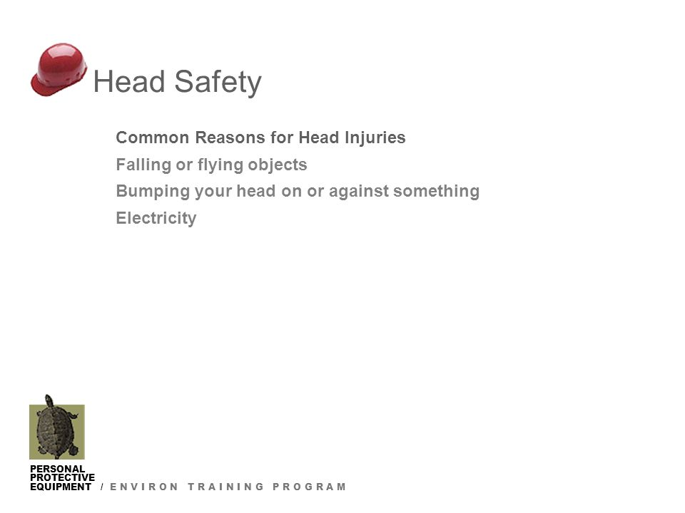 PERSONAL PROTECTIVE EQUIPMENT / E N V I R O N T R A I N I N G P R O G R A M Head Safety Common Reasons for Head Injuries Falling or flying objects Bumping your head on or against something Electricity