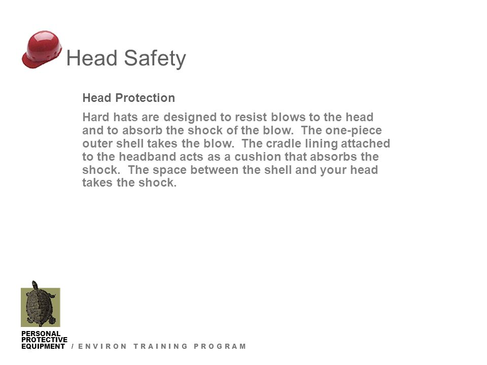 PERSONAL PROTECTIVE EQUIPMENT / E N V I R O N T R A I N I N G P R O G R A M Head Protection Hard hats are designed to resist blows to the head and to absorb the shock of the blow.
