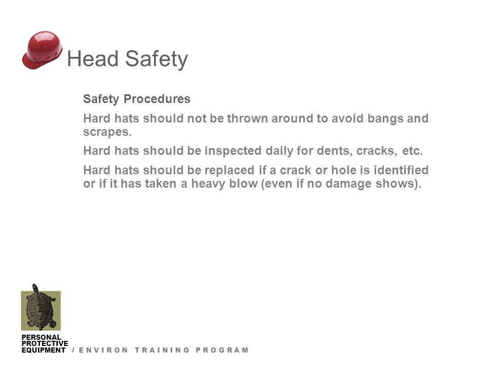 PERSONAL PROTECTIVE EQUIPMENT / E N V I R O N T R A I N I N G P R O G R A M Safety Procedures Hard hats should not be thrown around to avoid bangs and scrapes.