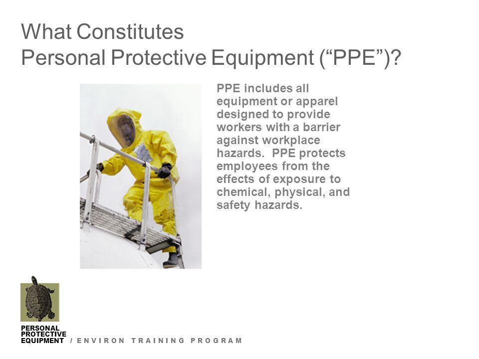 PERSONAL PROTECTIVE EQUIPMENT / E N V I R O N T R A I N I N G P R O G R A M What Constitutes Personal Protective Equipment ( PPE ).