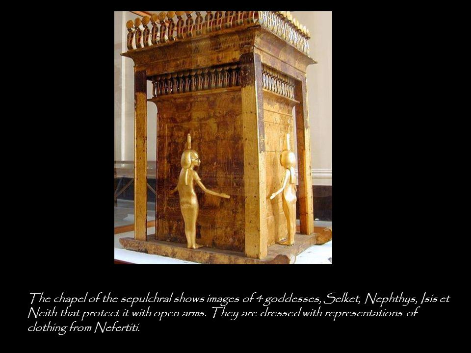 Amset and Isis protect the liver, Hapi and Nephtys the lungs, Douamoutef and I annoy Neith and Kebehsenouef et Selket the intestines.