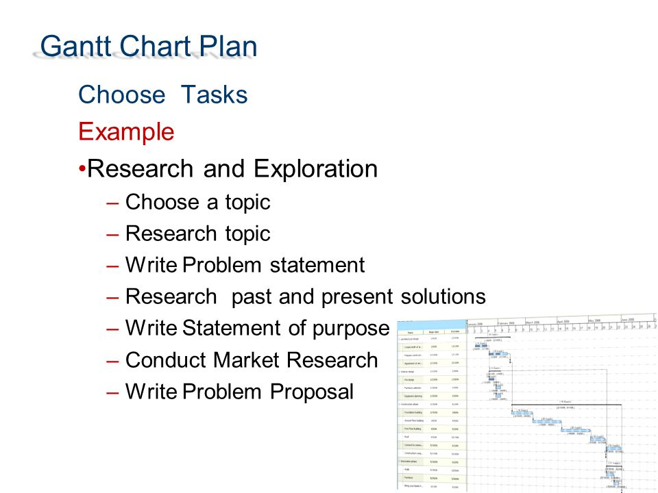 Gantt Chart Plan Choose Tasks Example Research and Exploration – Choose a topic – Research topic – Write Problem statement – Research past and present solutions – Write Statement of purpose – Conduct Market Research – Write Problem Proposal
