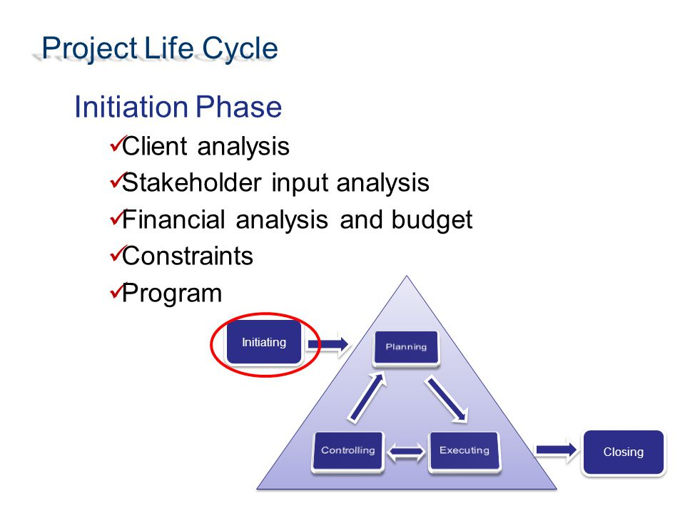 Project Life Cycle Initiation Phase Client analysis Stakeholder input analysis Financial analysis and budget Constraints Program