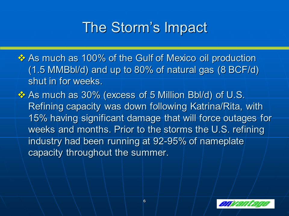 6 The Storm's Impact  As much as 100% of the Gulf of Mexico oil production (1.5 MMBbl/d) and up to 80% of natural gas (8 BCF/d) shut in for weeks. 