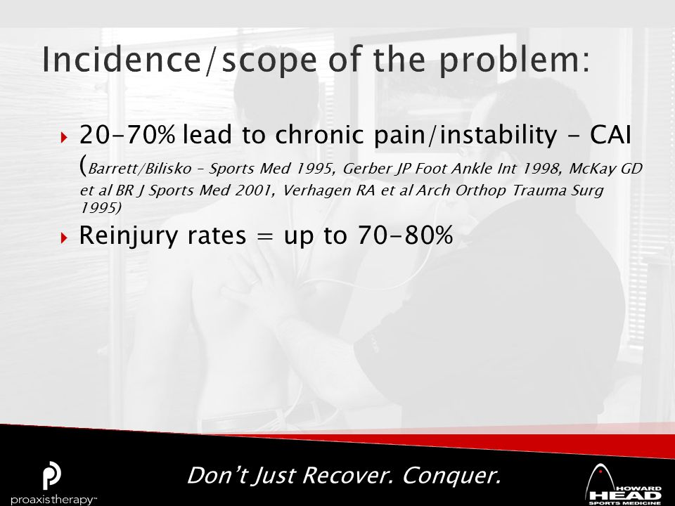 Don't Just Recover. Conquer.  20-70% lead to chronic pain/instability - CAI ( Barrett/Bilisko – Sports Med 1995, Gerber JP Foot Ankle Int 1998, McKay
