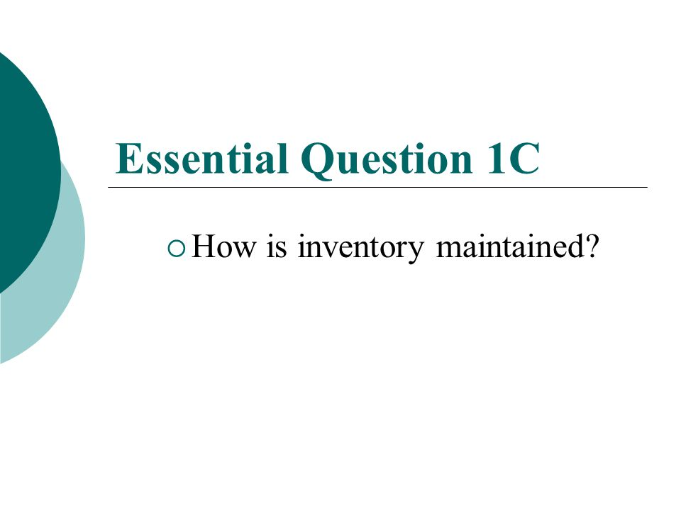 Planning Inventory  Inventory Average: Use the industry averages to help gauge your inventory management.
