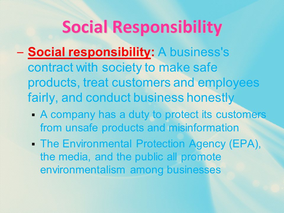 Essential Question 2A  What are social obligations of a business