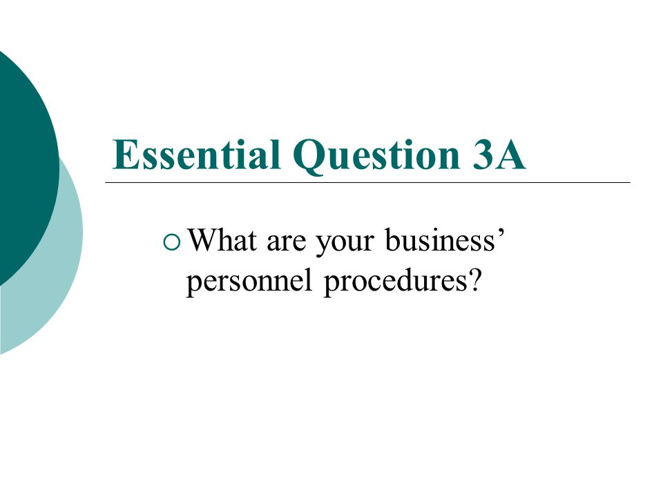 Unit 6 Essential Question 3  What are the concepts, systems, and strategies needed to acquire and develop human resource needs for an entrepreneurial entity?