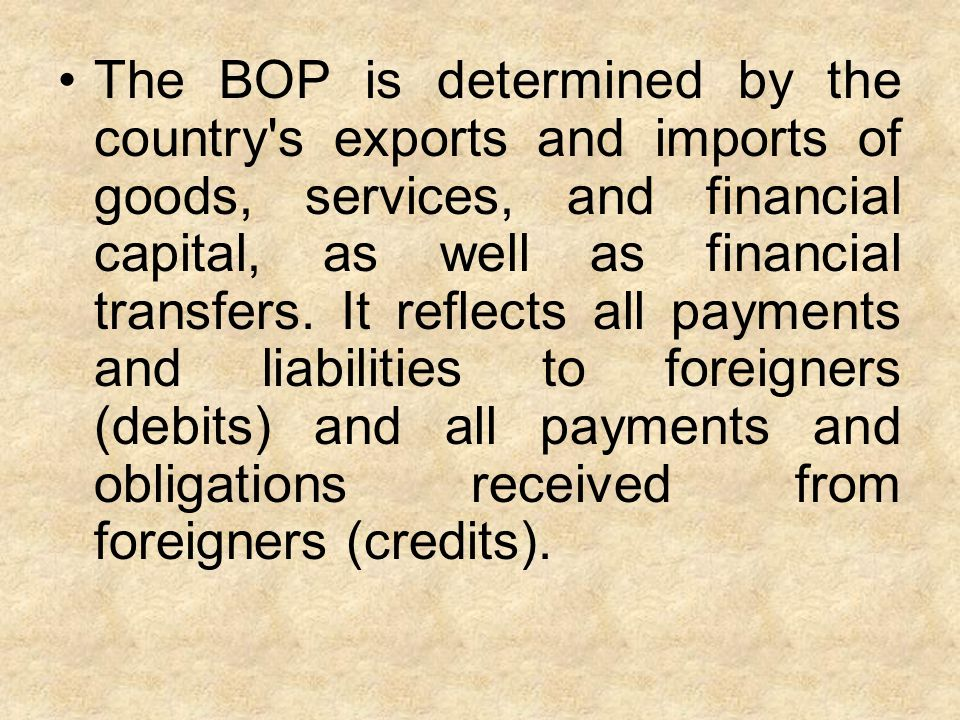 The BOP is determined by the country's exports and imports of goods, services, and financial capital, as well as financial transfers. It reflects all