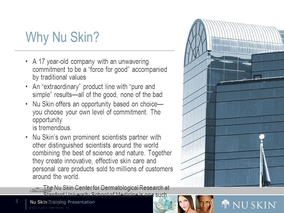 ©2001 Nu Skin International, Inc. < Back to Agenda 4 Why Nu Skin.