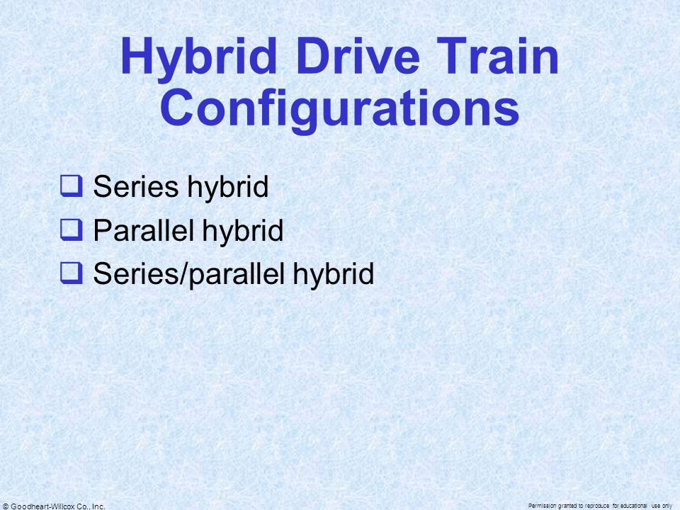 © Goodheart-Willcox Co., Inc. Permission granted to reproduce for educational use only Hybrid Drive Train Configurations  Series hybrid  Parallel hy