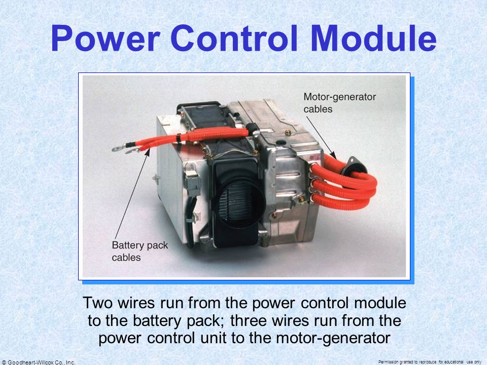 © Goodheart-Willcox Co., Inc. Permission granted to reproduce for educational use only Power Control Module Two wires run from the power control modul