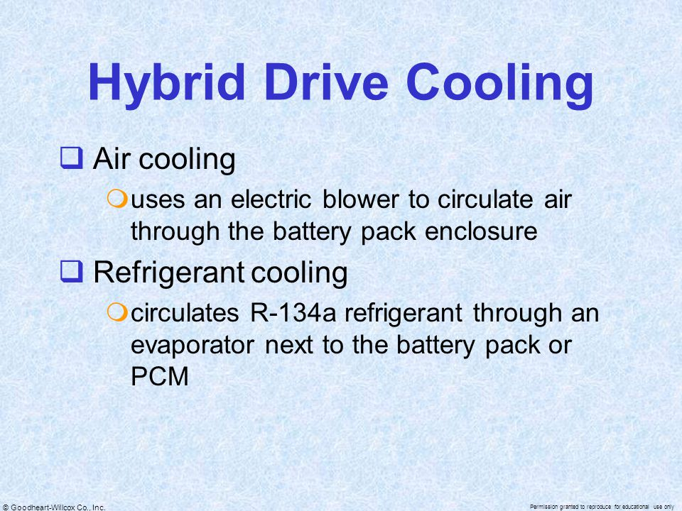 © Goodheart-Willcox Co., Inc. Permission granted to reproduce for educational use only Hybrid Drive Cooling  Air cooling  uses an electric blower to