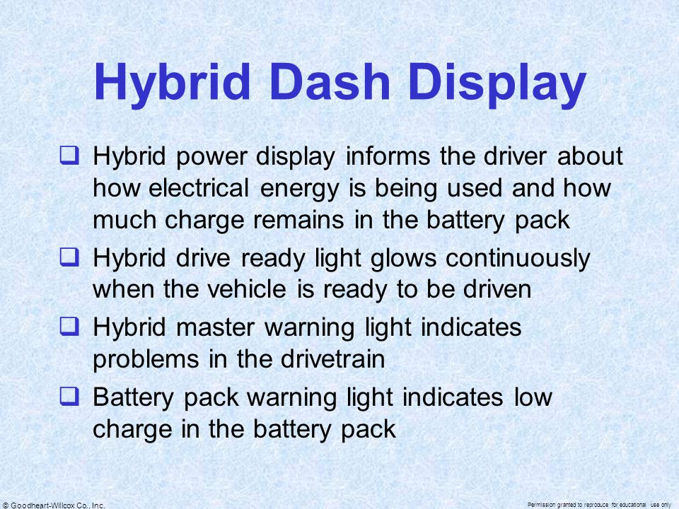 © Goodheart-Willcox Co., Inc. Permission granted to reproduce for educational use only Hybrid Dash Display  Hybrid power display informs the driver a