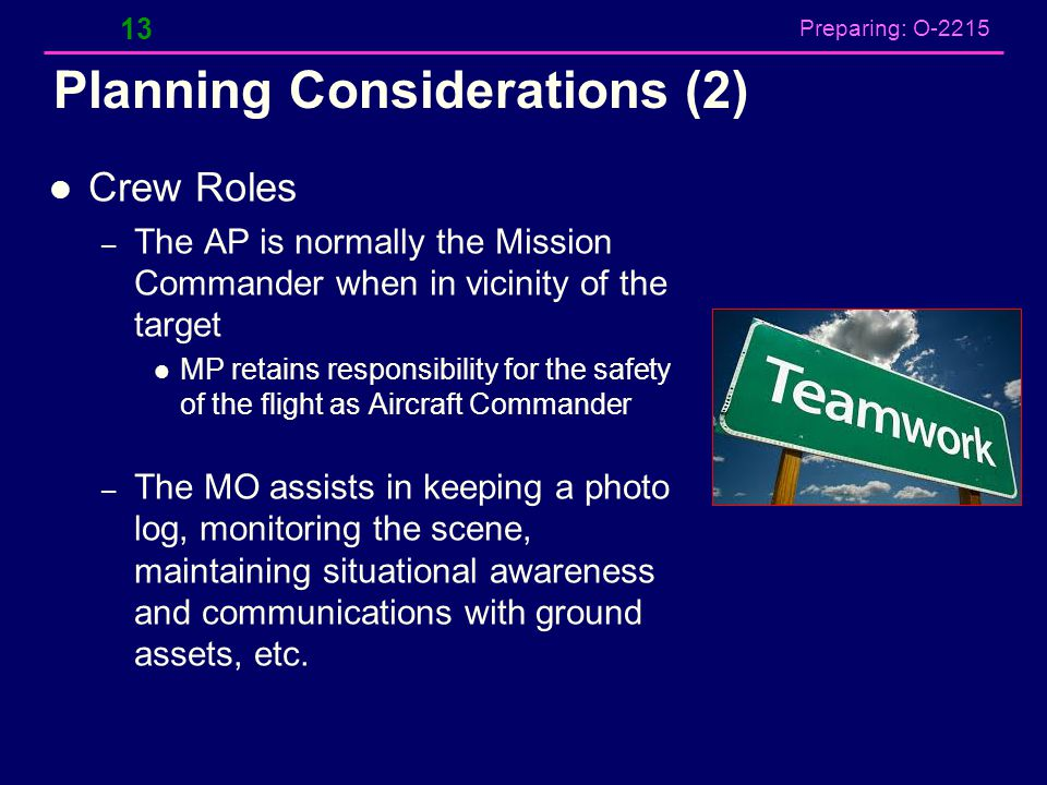 Preparing: O-2215 Planning Considerations (2) Crew Roles – The AP is normally the Mission Commander when in vicinity of the target MP retains responsi