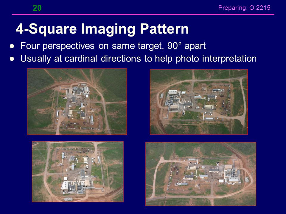 Preparing: O-2215 4-Square Imaging Pattern 20 Four perspectives on same target, 90° apart Usually at cardinal directions to help photo interpretation