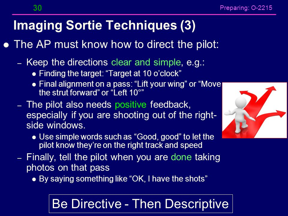 Preparing: O-2215 Imaging Sortie Techniques (3) The AP must know how to direct the pilot: – Keep the directions clear and simple, e.g.: Finding the ta