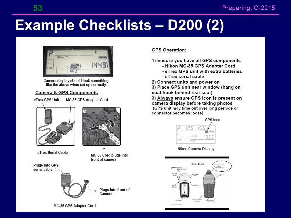 Preparing: O-2215 Example Checklists – D200 (2) 53