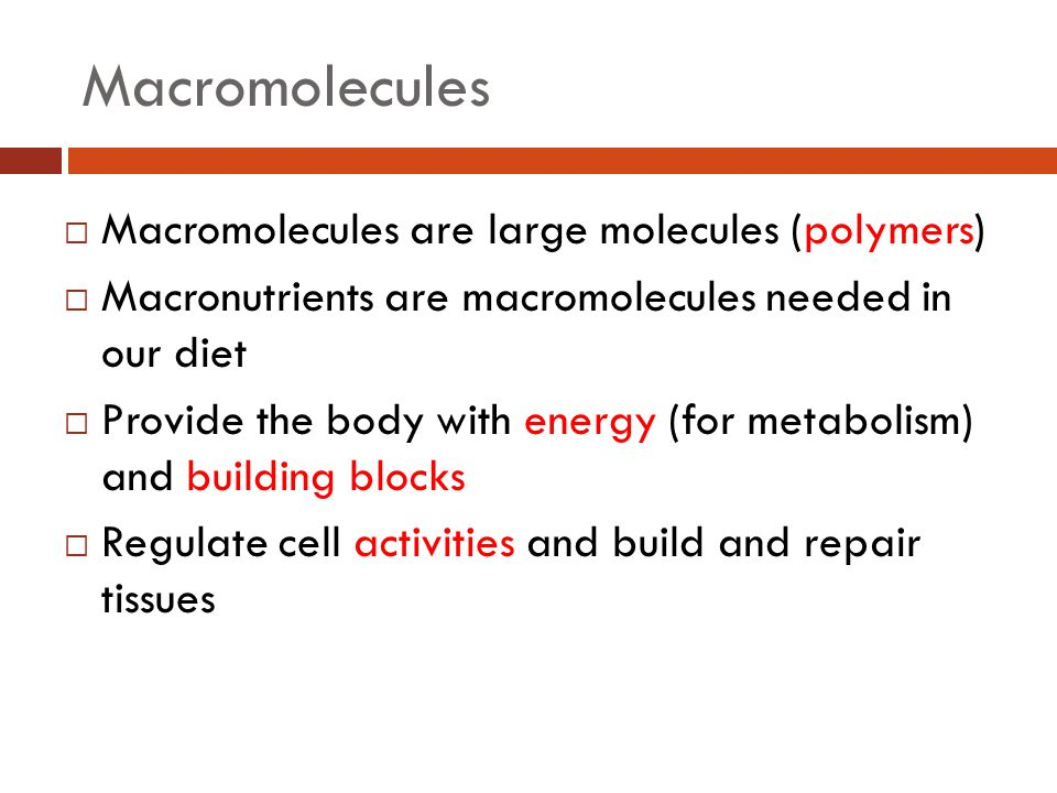 Macromolecules  Macromolecules are large molecules (polymers)  Macronutrients are macromolecules needed in our diet  Provide the body with energy (for metabolism) and building blocks  Regulate cell activities and build and repair tissues