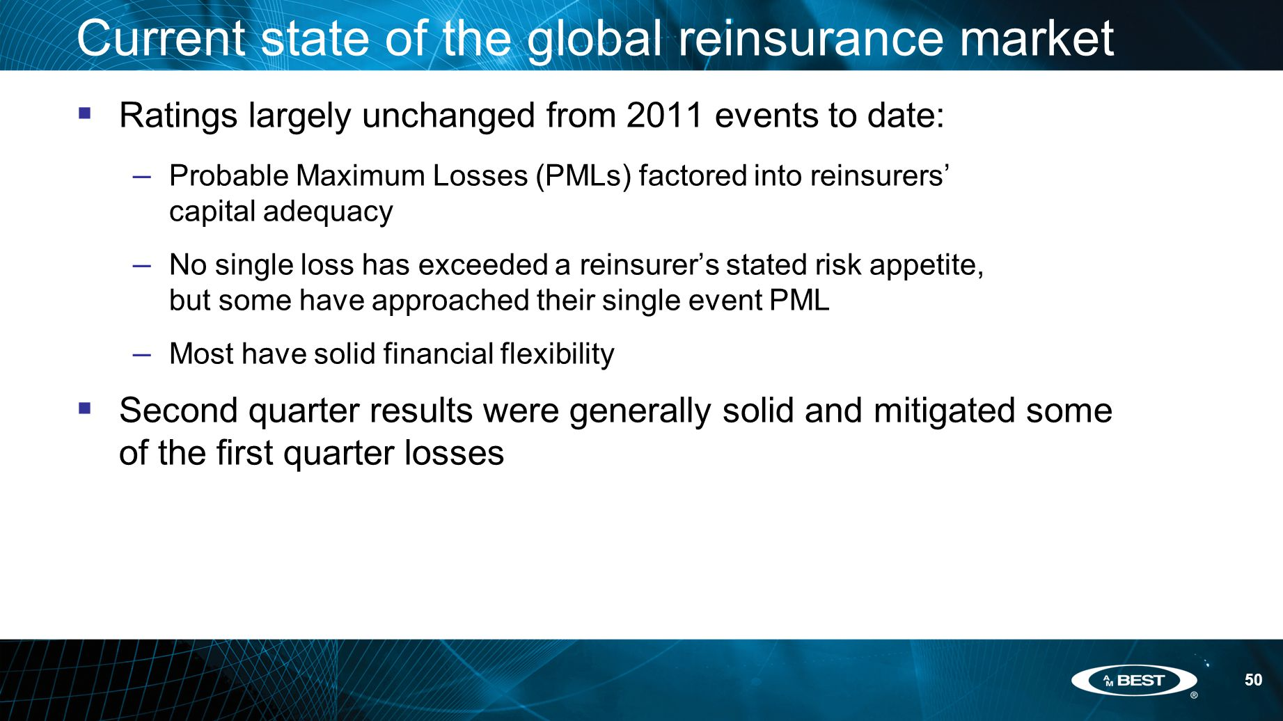 50 Current state of the global reinsurance market  Ratings largely unchanged from 2011 events to date: – Probable Maximum Losses (PMLs) factored into reinsurers' capital adequacy – No single loss has exceeded a reinsurer's stated risk appetite, but some have approached their single event PML – Most have solid financial flexibility  Second quarter results were generally solid and mitigated some of the first quarter losses