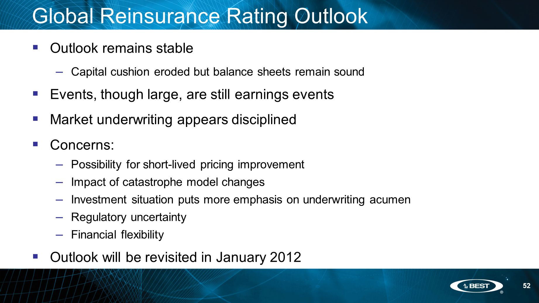 52 Global Reinsurance Rating Outlook  Outlook remains stable – Capital cushion eroded but balance sheets remain sound  Events, though large, are still earnings events  Market underwriting appears disciplined  Concerns: – Possibility for short-lived pricing improvement – Impact of catastrophe model changes – Investment situation puts more emphasis on underwriting acumen – Regulatory uncertainty – Financial flexibility  Outlook will be revisited in January 2012