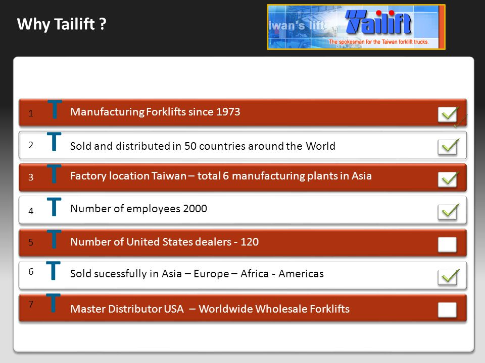 Why Tailift ? Manufacturing Forklifts since 1973 1 2 Sold and distributed in 50 countries around the World 3 Factory location Taiwan – total 6 manufac