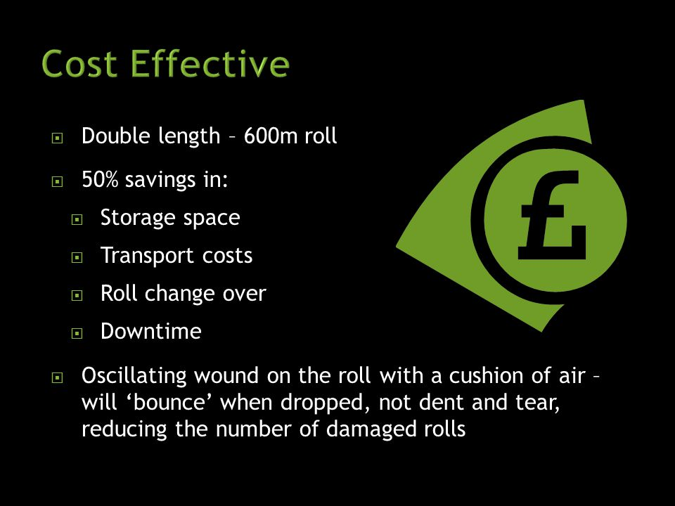 DDouble length – 600m roll 550% savings in: SStorage space TTransport costs RRoll change over DDowntime OOscillating wound on the roll with a cushion of air – will 'bounce' when dropped, not dent and tear, reducing the number of damaged rolls