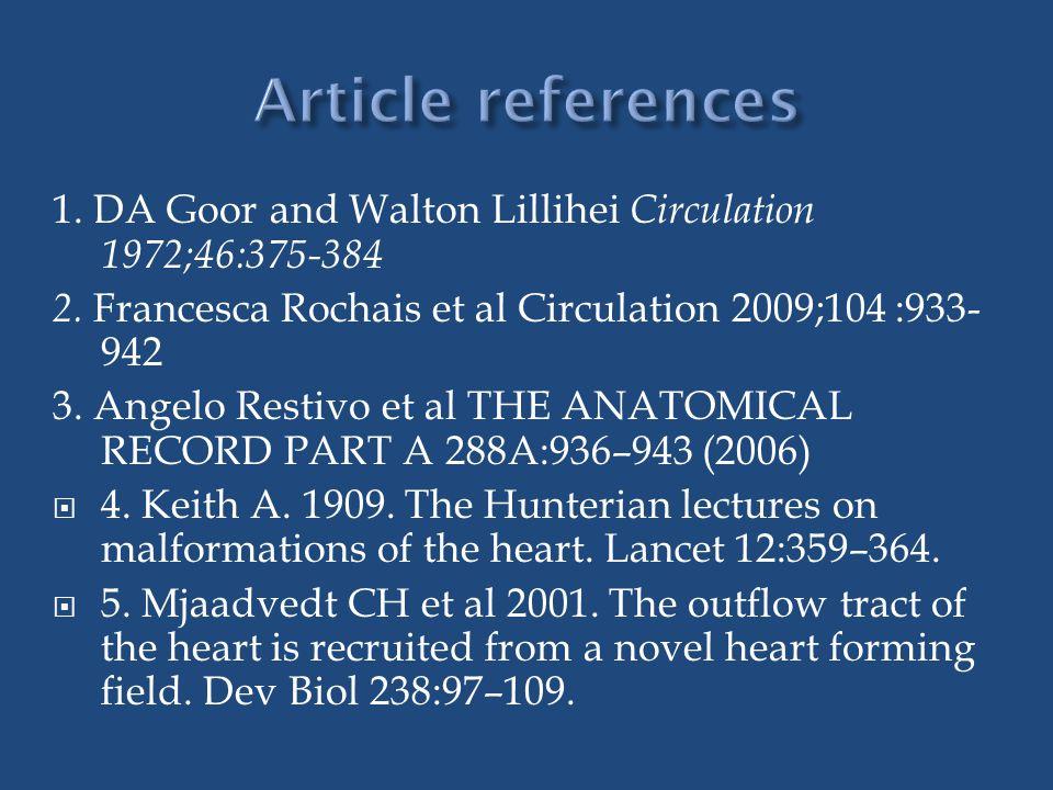 1. DA Goor and Walton Lillihei Circulation 1972;46:375-384 2. Francesca Rochais et al Circulation 2009;104 :933- 942 3. Angelo Restivo et al THE ANATO