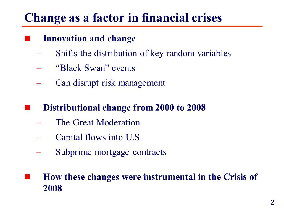 3 Historical record Financial crises often associated with innovation and change Examples: –Penn Central crisis of 1970  Innovation: commercial paper –1987 stock market crash  Innovation: computerized program trading/portfolio insurance –1998 LTCM crisis  Innovation: highly leveraged hedge funds