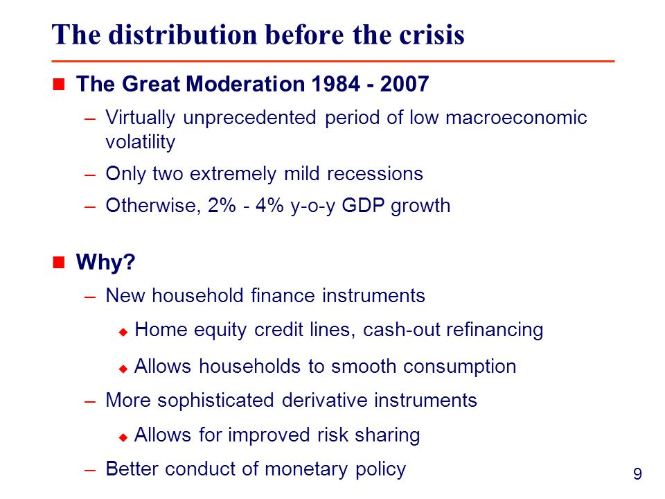 9 The distribution before the crisis The Great Moderation 1984 - 2007 –Virtually unprecedented period of low macroeconomic volatility –Only two extremely mild recessions –Otherwise, 2% - 4% y-o-y GDP growth Why.