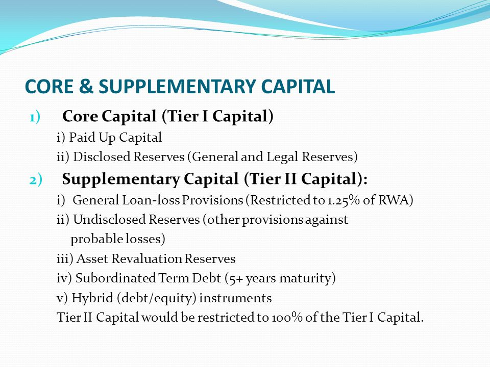 CORE & SUPPLEMENTARY CAPITAL 1) Core Capital (Tier I Capital) i) Paid Up Capital ii) Disclosed Reserves (General and Legal Reserves) 2) Supplementary