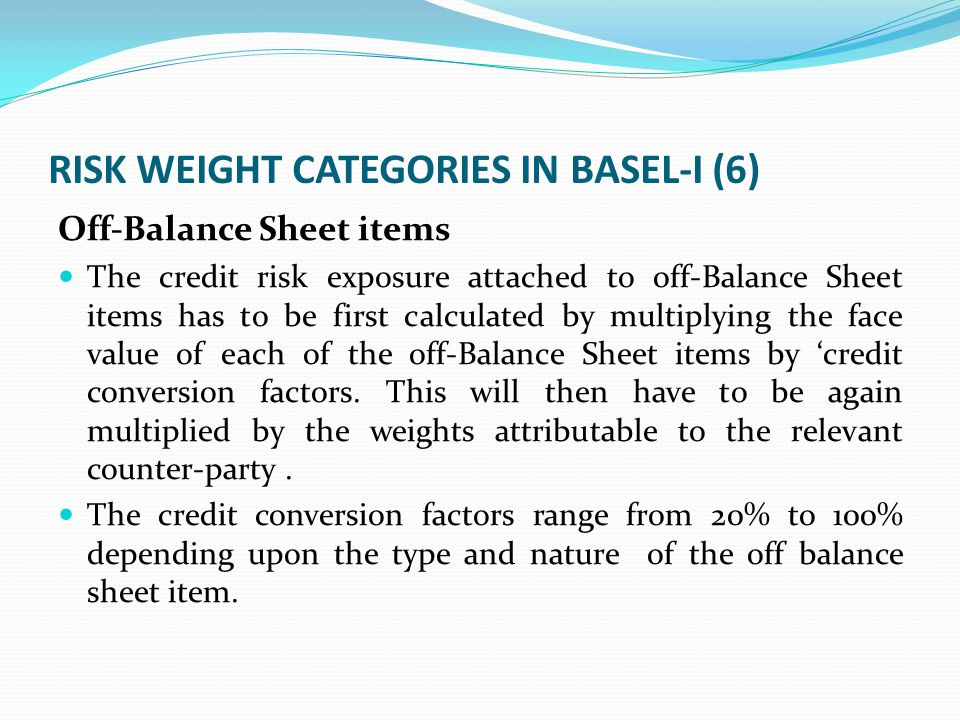 RISK WEIGHT CATEGORIES IN BASEL-I (6) Off-Balance Sheet items The credit risk exposure attached to off-Balance Sheet items has to be first calculated