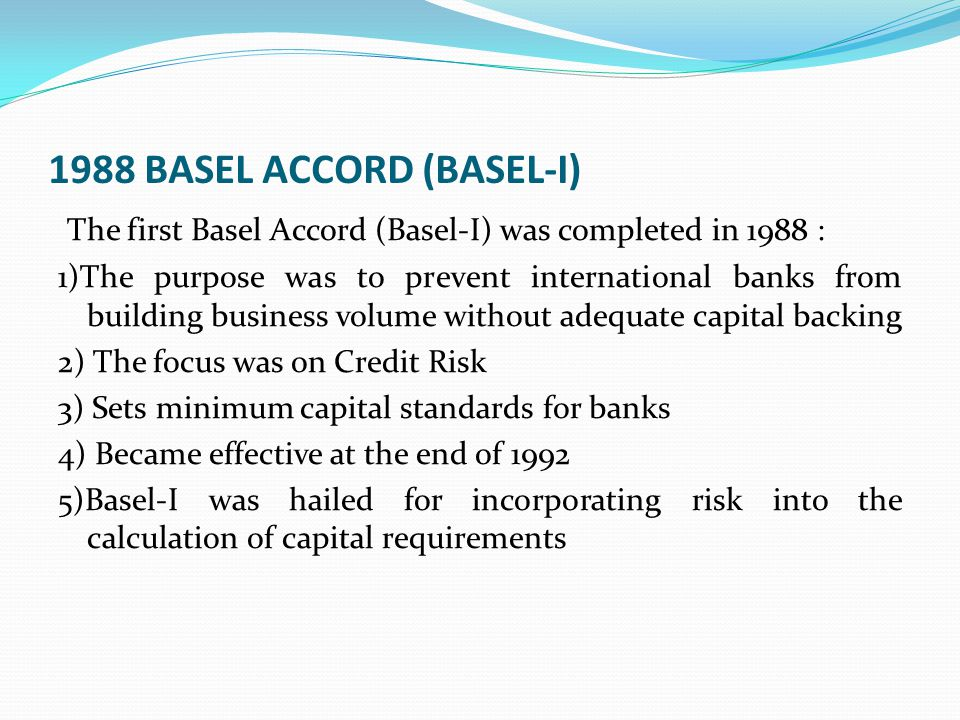 INTERNAL MODELS AND BASEL I Internal models allow banks to more finely differentiate risks of individual loans than is possible under Basel-I Risk can be differentiated within loan categories and between loan categories Allows the application of a capital charge to each loan, rather than each category of loan