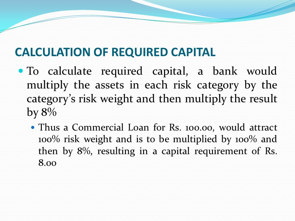 IMPLEMENTATION OF CAPITAL ADEQUACY STANDARDS IN INDIA In June 2004, Reserve Bank issued guidelines to banks on maintenance of capital charge for Market Risks on the lines of 'Amendment to the Capital Accord to incorporate market risks' issued by the BCBS in 1996.