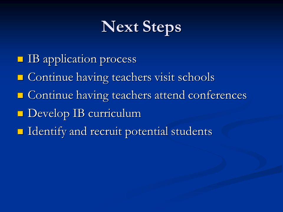 Next Steps IB application process IB application process Continue having teachers visit schools Continue having teachers visit schools Continue having