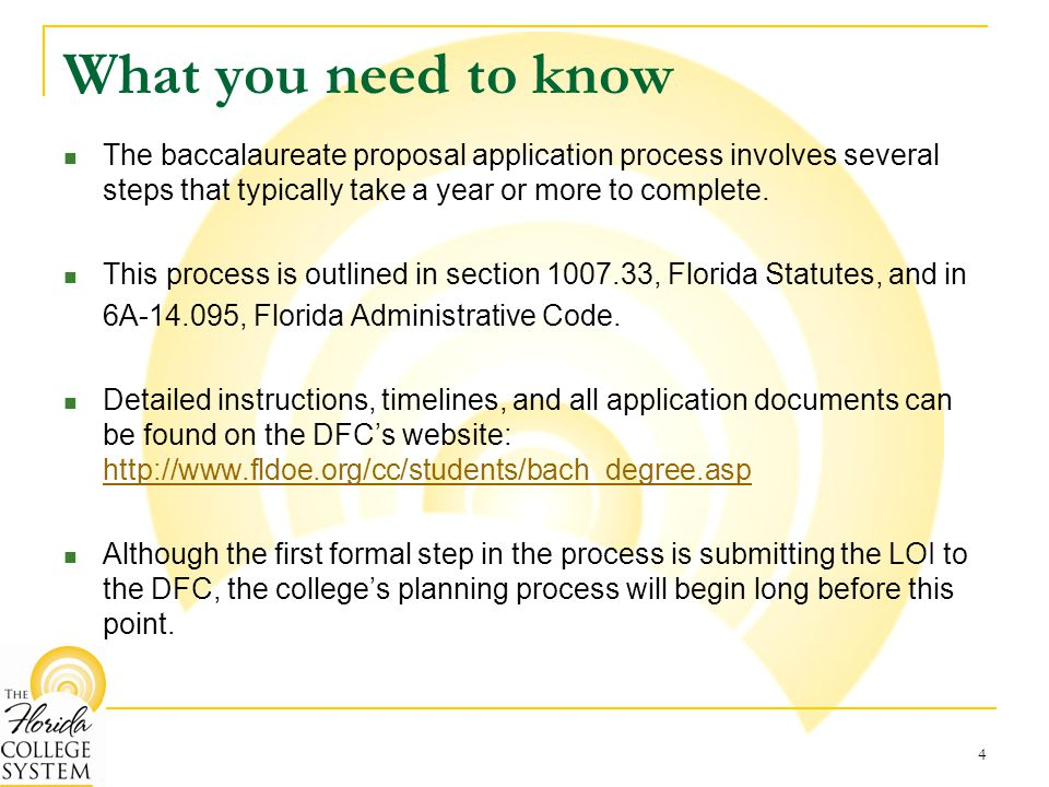 What you need to know The baccalaureate proposal application process involves several steps that typically take a year or more to complete.